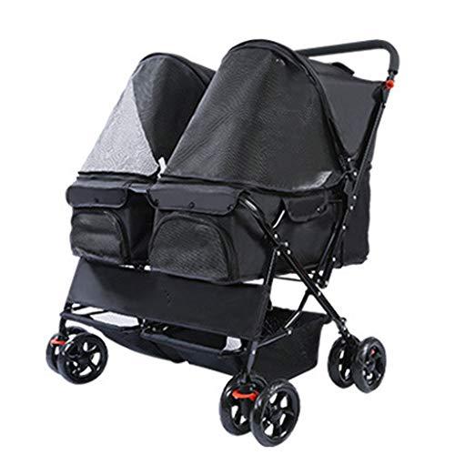 Pet Stroller for Katzen/Hunde, Easy One-Hand Falten mit abnehmbarem Liner, Ablagekorb, Mesh-Ventilation (Color : Black)