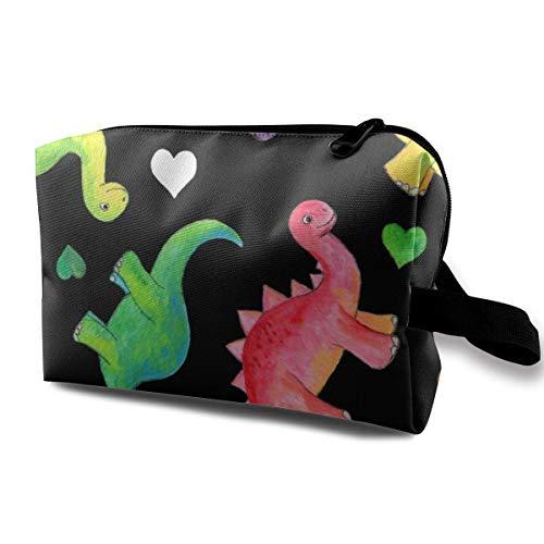 Trousse de toilette colorée peinte à la main Motif dinosaures et cœurs Noir Taille M 2570 25 x 15 cm