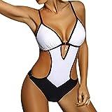 JFAN Mujer Halter Trajes de Baño Una Pieza Bikini Push Up V-Cuello Monokini Traje de Baño de Cintura Baja Ropa de Playa Bikini Sets(Blanco,L)