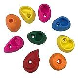 Juego de 10 piedras de escalada de colores mixtos para entrenamiento de fuerza, con agarre de mano de polietileno, con llave, para interiores y exteriores, niños y adultos, Small