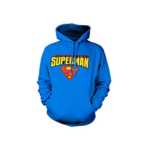 Superman Blockletter Logo Hoodie (Bleu), Large