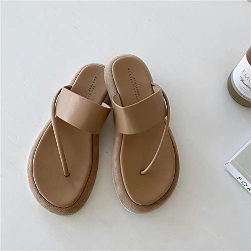 RRGG Chanclas, Chanclas Altas de Suela Gruesa, Chanclas de Mujer para Interiores y Exteriores-Khaki_37, Zapatos