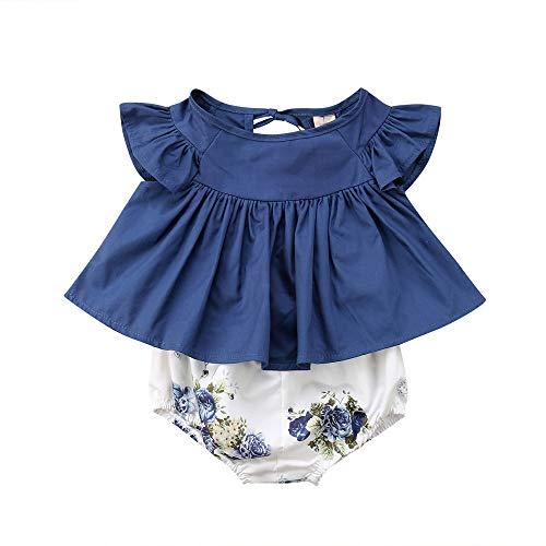 Conjuntos Bebe Niña, Lanskirt 0-24 Meses Ropa Bebe Niña Camisetas Bebe de Estampado de Flores de Impresión + Pantalones Cortos de Moda 2019