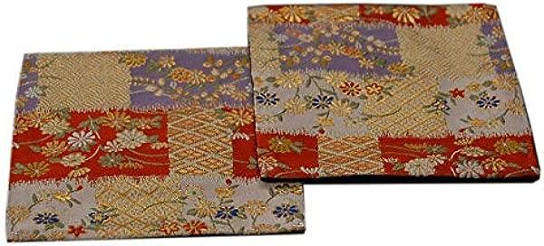 SHINSENDO KIMONO COASTER Japanese Traditional Fabrics Kinran 2 Sheets Set Pattern Name Hana