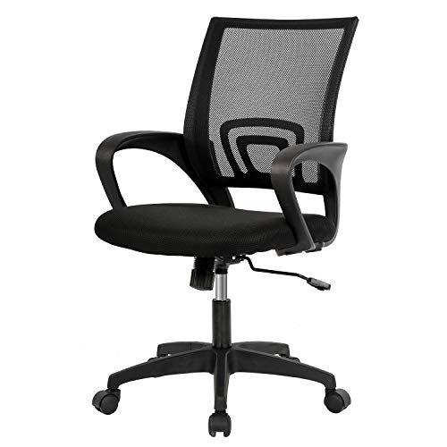 BestOffice Ergonomic Desk Mid-Back Mesh Computer Lumbar Support Comfortable Executive Adjustable Rolling Swivel Task Chair with Armrests(Black)