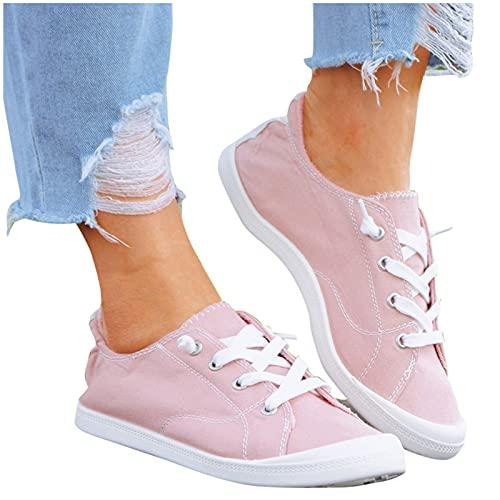 Dasongff Damen Flat Schuhe Loafers Canvas Sneaker Bequeme Atmungsaktive Flache Schnürschuhe Loafer Slip On Halbschuhe Sneaker Turnschuh Low Top Segeltuchschuhe für Running Fitness Gym Outdoor