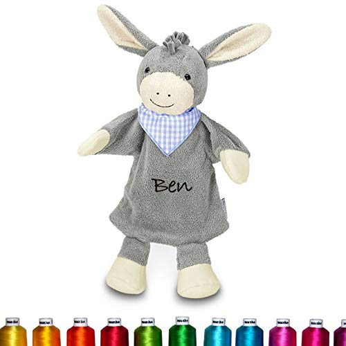 LALALO Sterntaler Handpuppe Bestickt mit Namen (Esel), Plüsch Kuscheltier Schmusetuch, Kuscheltuch - Geschenk für Mädchen & Junge zur Geburt & Taufe