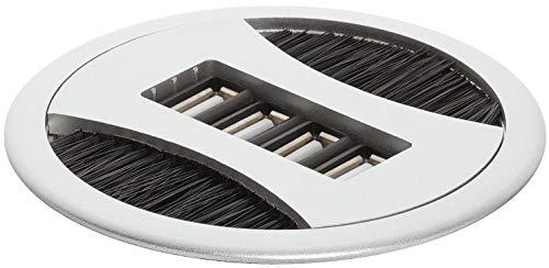 Gedotec Kabeldurchlass mit 4-USB Anschlüssen Kabel-Durchführung Schreibtisch - HOMEFIT | Kunststoff silber eloxiert | Kabelausgang zum Eindrücken | Ø 80 mm | 1 Stück - Design Kabeldose rund mit Bürste