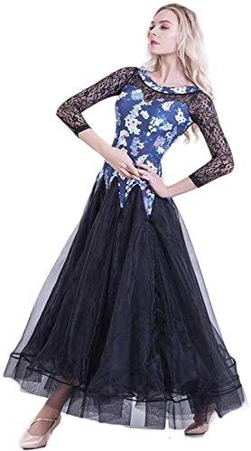 Prom Standardtanz-Kleid-Tanz Walzer Tango-Party Latin Posing Tanz-Kleid-Rock-Frauen, Dünne Lange Ärmel Modern Dance Kleider for Frauen Großen Schaukel (Color : Blue, Size : XL)