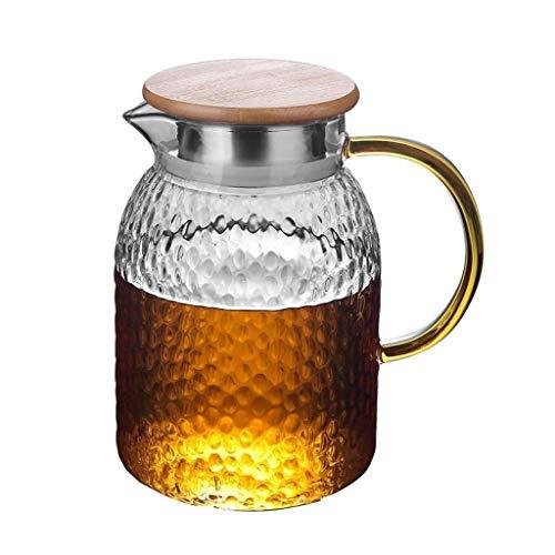 DX Glazen kruik deksel, ijskan gemakkelijk schoon te maken, gemakkelijk te gieten, ideaal voor ijsthee, koffie, melk en sap glas theepot (grootte: 11.515cm)