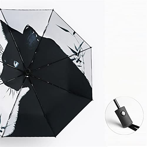 KHAILIUB Sombrilla Paraguas de Flores Totalmente automático Recubrimiento Negro Protector Solar Soleado Paraguas Lluvia Mujer 3 Paraguas Plegable Hembra Princesa Parasol (Farbe : Inside Printing)
