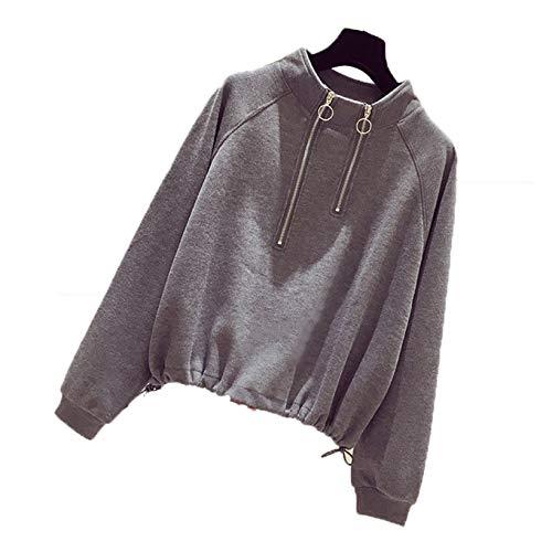 Suéter para Mujer, Camisa, Cuello Alto con Cremallera Doble, Otoño Invierno, Prendas de Vestir, Color sólido, Manga Larga, Abrigo Suelto a la Moda, Tops