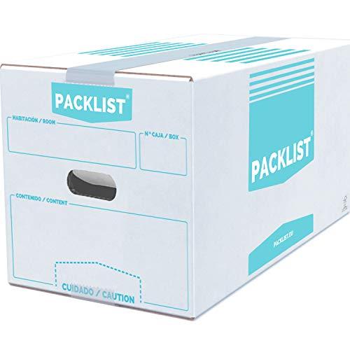 PACKLIST 20 Cajas Cartón Mudanza + APP/PDF Inventario - Cajas de Mudanza Personalizables y Ultra Resistentes 43x30x25cm - Cajas de Cartón de Calidad para Mudanzas - Caja Blanca ECO Certificado FSC