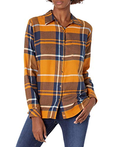 Dickies womens Long-sleeve Plaid Flannel Work Utility Button Down Shirt, Autumn Gold Ink Navy Plaid, XX-Large US