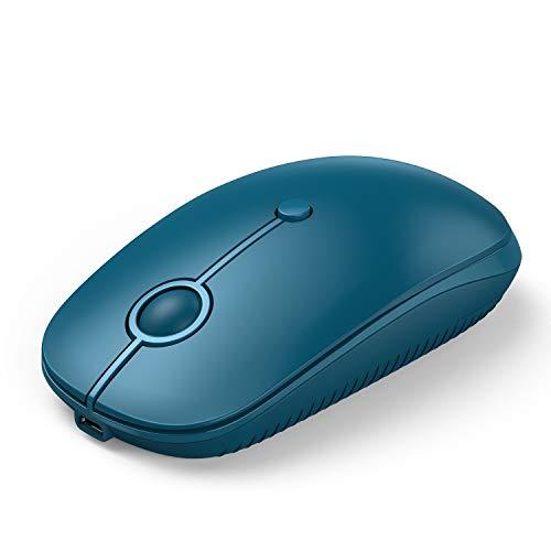 Jelly Comb USB + Type-C + Bluetooth Maus Wiederaufladbare Maus Schnurlos Wireless Optische Bluetooth Maus für PC/Tablet/Laptop und Windows/Mac/Linux (Blau)