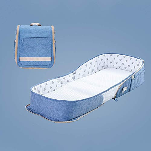ADHW Baby Winter New Baby Lounger Bed Newborn Travel Cot Baby Sleep Nest Pod Portable Multifunctional Comfortable Mattress Suitable for 0-18 Months Baby Baby Carriage Sleeping Bag (Color : Blue)