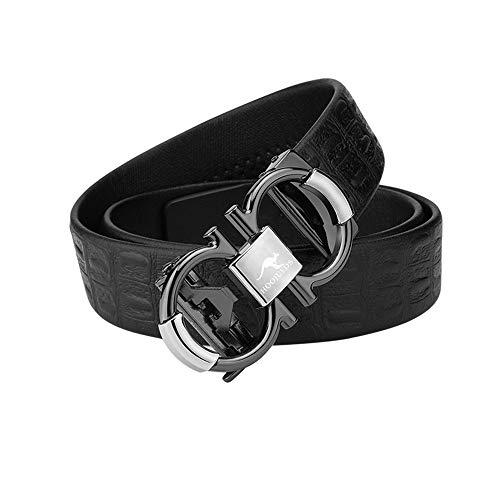 Herren Business Ledergürtel, verstellbarer Bund aus echtem Leder mit Ratsche, automatischer Gürtelschnalle, ideal for Jeans, Freizeit-, Cowboy- und Arbeitskleidung (Farbe : #2, Größe : 49.2in)
