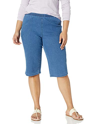JUST MY SIZE Women's Apparel Women's Plus Size 2 Pocket Pull on Capri, Light Stonewash, 2X
