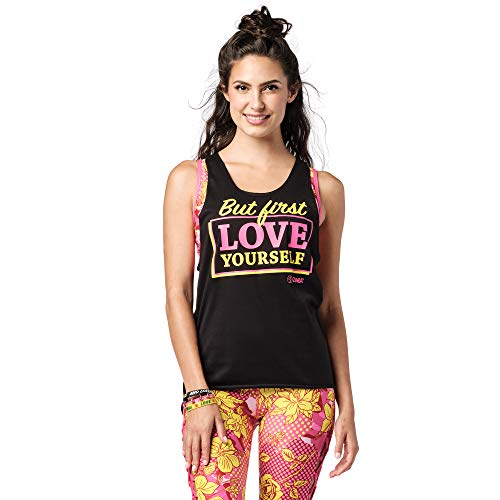 Zumba Camiseta de tirantes de danza con estampado gráfico suelto para mujer, color negro, talla 45, talla pequeña