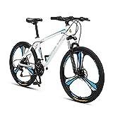 MQJ Bicicleta de Montaña para Adultos Ruedas de 26 Pulgadas para Hombres para Mujer Mde Acero Al Carbono 24/27 Veloz Engranajes con Frenos de Disco/Azul/27 Velocidad