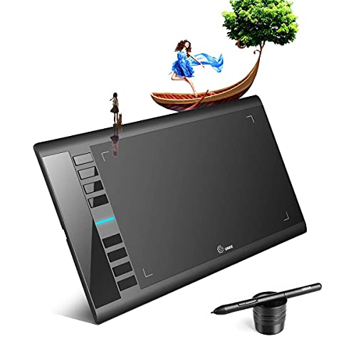 UGEE M708 V2 Drawing Tablet, 10 x 6 inch Graphics Drawing Tablet with 8 Hot Keys, Battery-Free Passive Stylus of 8192 Levels Pressure, for Paint, Digital Art Creation Sketch