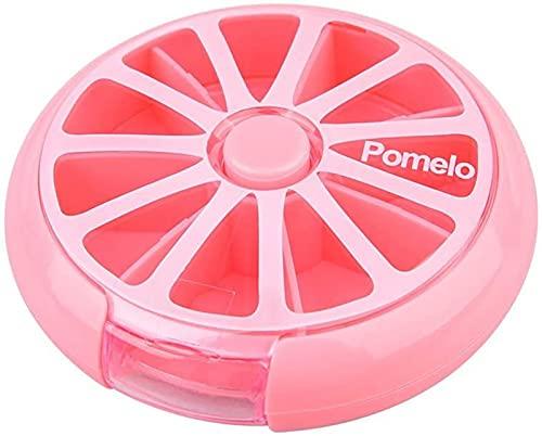 ZGC Forma Rotonda Mini Portapillole settimanale Porta pastiglie Tascabile Contenitore Pillole Dispenser settimanale Pillole per Integratori/Pillole/Vitamine e Farmaci(Size:Pink)
