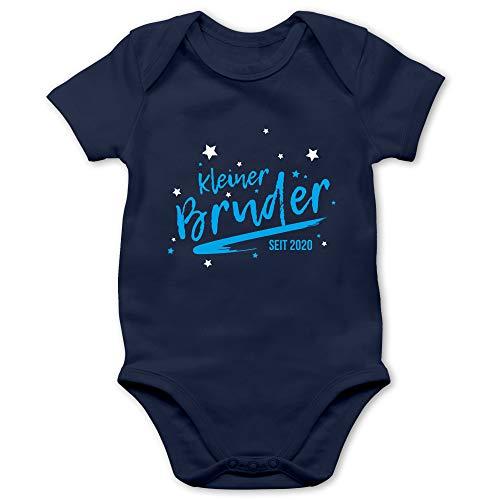Shirtracer Geschwisterliebe Baby - Kleiner Bruder seit 2020-1/3 Monate - Navy Blau - Kleiner Bruder - BZ10 - Baby Body Kurzarm für Jungen und Mädchen