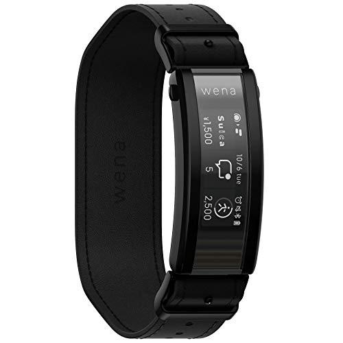 ソニー ウェナ SONY wena スマートウォッチ 電子マネー Suica Alexa搭載 活動量計 iOS/Android対応 wena 3 leather Premium Black WNW-C21A/B