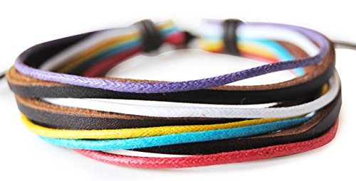 axy LEBA1 in pelle + cotone serie! Cinturino in pelle ying-yang aighina ltext! Surfer braccialetto Bracciale da uomo donna drachensilber, colore: Modell 5