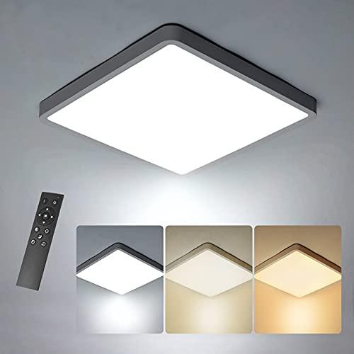 Anonry Lámpara de Techo LED Interior 36W, 3060LM Cuadrada Moderno Plafón LED Techo Regulable con Mando a Distáncia 3000K- 6500K 30*30cm IP20 Plafon Techo para Dormitorio, Cocina, Salón