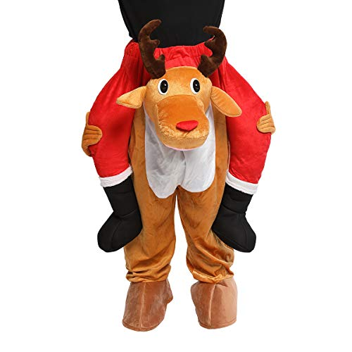 CRSURE Christmas Reindeer Costume,Easy to Wear and Walk Costume for Reindeer Mascot,Fancy Riding on Reindeer's Shoulders Unisex Adult Costume. (Reindeer)