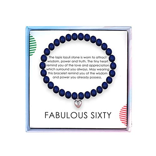 SOLINFOR 60th Birthday Gifts for Women - Lapis Lazuli Beads Bracelet - 60 Years Old Jewelry Gift Idea for Her