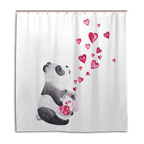 CPYang Duschvorhänge Aquarell Panda hält Glas Glas Herzen Wasserdicht Schimmelresistent Badevorhang Badezimmer Home Decor 168 x 182 cm mit 12 Haken