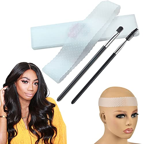 Transparent Silicone Non Slip Wig Grip Head Band for Women, Comfort Elastic Silicone Wig Fix Wig Grip Headbands to Hold Wigs Frontal Sports and Yoga (Transparent color)
