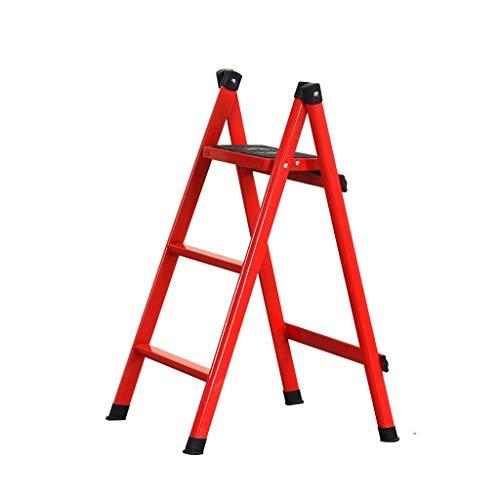 WHF Trittleiter , Leiter , Tritthocker Trittleiter Fotografie Ladderred Folding Stepladders Konstruktion Eisenleiter 2 Schritte / 3 Schritte / 4 Schritte Faltschritte,Rot,41 X 57 X 84 cm
