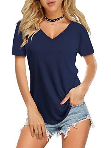 Amoretu Solid Color V Neck Shirts for Women Short Sleeve Tee Summer Tops(Navy,S)