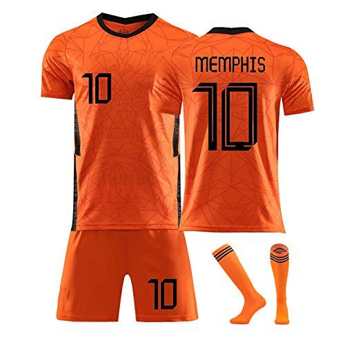 FDSEW Britische Team-Fußball-Jersey Memphis No.10 Virgil No.4 Heim Spiel Fußball-Jersey-Fußball-Hemd + Fußballshorts + Socken Anpassbare Zahlen orange10-28