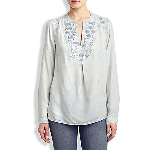 Lucky Brand Women's Embroidered Top, Indigo Multi, X-Small