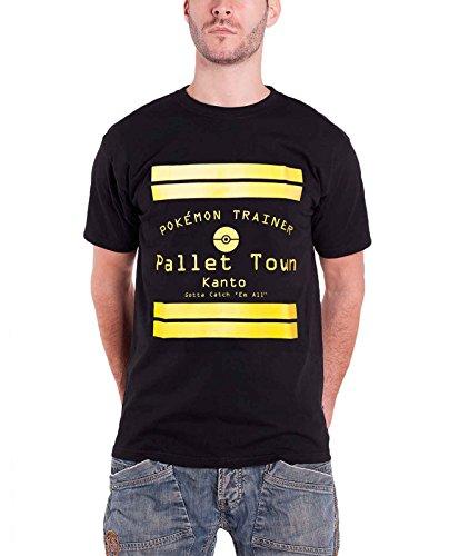 Pokémon Pallet Town Kanto Nouveau Officiel Homme Noir T Shirt Size S