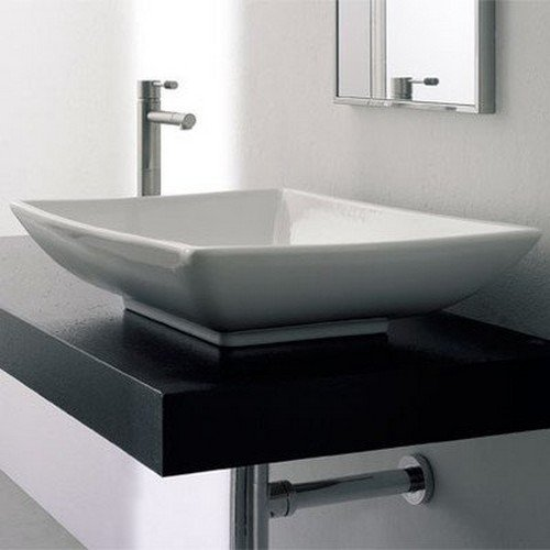 White Scarabeo 8046//R-One Hole Kyles Rectangular Ceramic Wall Mounted//Vessel Sink