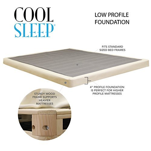 """Lifetime sleep products 4"""" Low Profile Box Spring great for Memory Foam Mattress, Twin"""