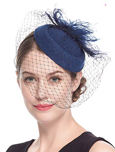 Fascinators Hats 20s 50s Hat Pillbox Hat Cocktail Tea Party Headwear with Veil for Girls and Women(B-navy)