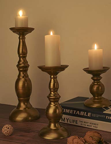 Lewondr Resin Pillar Candle Holders, 5.1/8.3/13.4 Inch Decorative Candlestick Stands, Home Decorations Decor Gifts Presents for Bedroom Livingroom Tablet Top, 3 Pieces - Gold