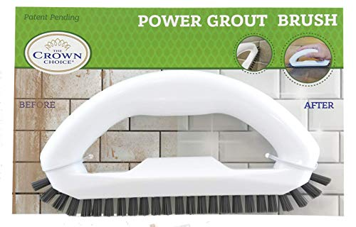 Grout Brush with Stiff Bristles – Clean Whiten Years of Dirty Grout Lines – Durable Hard Scrubbing Grout Cleaner Brush for Tile Floors – Comfortable Cleaning Handle – Tiles, Floors, Bathroom, Shower