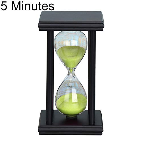 Mggsndi 5/15/30min Wooden Sand Clock Sandglass Kitchen School Hourglass Timer - Home Decor - Best Educational Birthday for Boys and Girls Adults Black + Green 5 Minutes