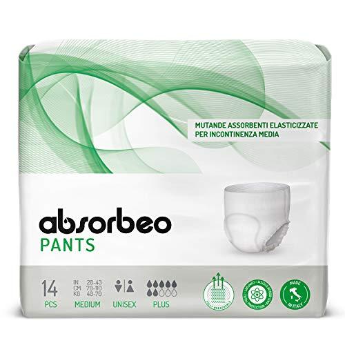 Absorbeo - Pants Plus - Mutande Assorbenti Elasticizzate per Incontinenza Media, Unisex, Taglia M (14 pezzi x conf.)