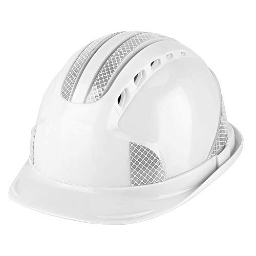 Casco de seguridad Casco de trabajo para el trabajador Obra protectora Ventilar Casco de seguridad con franja reflectante con correa ajustable para la barbilla(Blanco)
