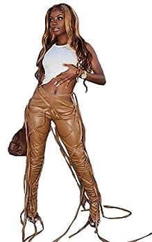 ECHOINE Women Bandage Faux Leather PU Pants High Waist Skinny Leggings Latex Slit Hem Pants Brown M