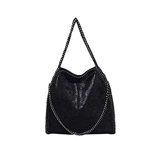 Mioy Borsa a tracolla da donna alla moda in pelle PU a tracolla, tinta unita, per il tempo libero da donna, borsa da donna (nero)