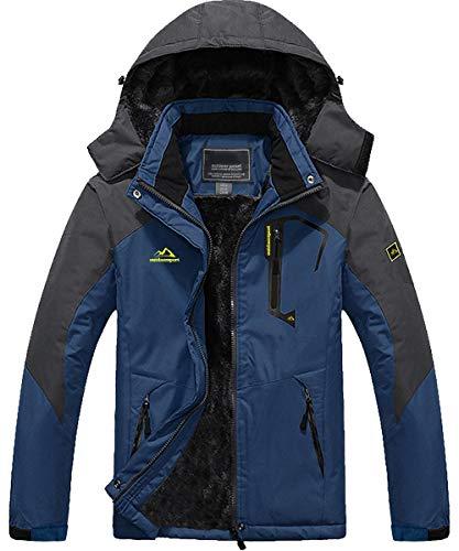 TACVASEN カジュアル 登山ウエア 裏ボア 防風 マウンテンパーカー 防水 大きいサイズ 登山服 ハイキング 帽子付 カウボーイブルー L